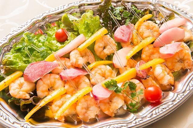 エビと彩り野菜のピンチョス画像