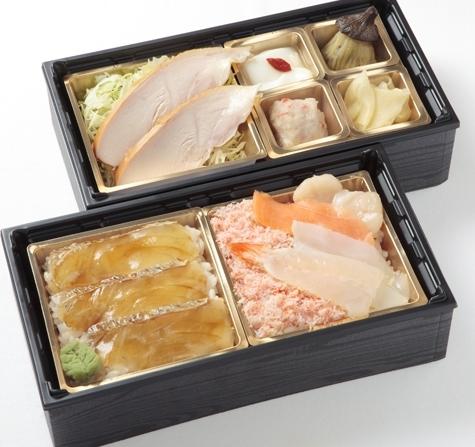 北海の海の幸丼と鯛の漬け丼の2段重画像