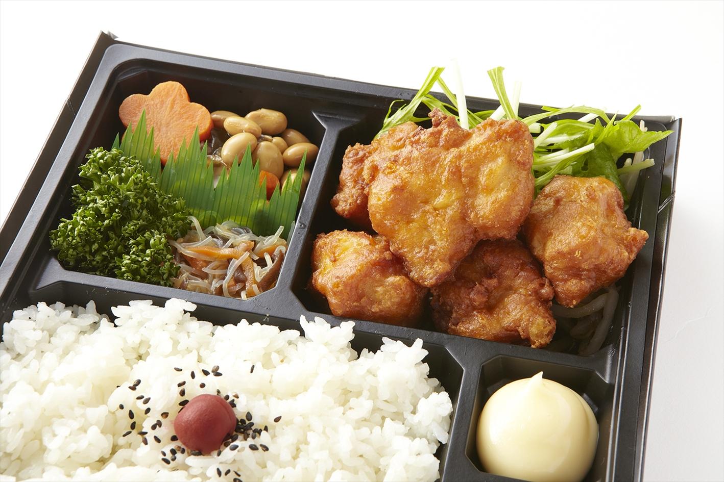 鶏唐揚げと3種の季節の惣菜幕の内弁当画像
