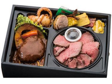A5黒毛和牛のビフテキ丼とハンバーグ弁当画像