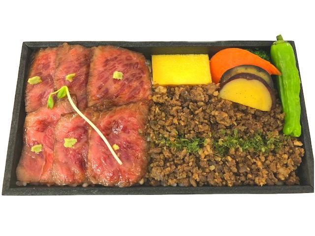 飛騨牛ステーキと飛騨牛そぼろ盛り弁当画像